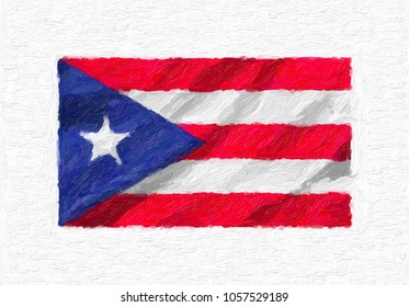Puerto Rico hand painted waving national flag, oil paint isolated on white canvas, 3D illustration.