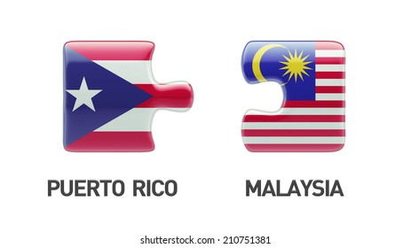 Puerto Rico Malaysia High Resolution Puzzle Concept