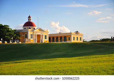 Puerto Rico, Old San Juan ocean view with buildings