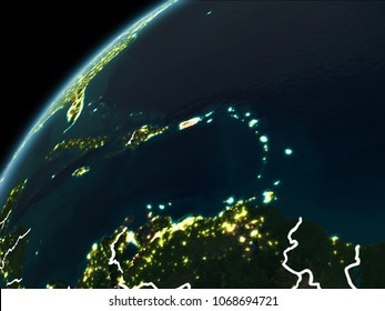 Puerto Rico in red on planet Earth at night with visible borderlines and city lights. 3D illustration. Elements of this image furnished by NASA.