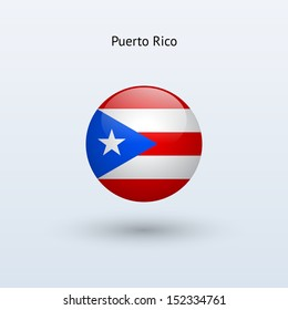Puerto Rico round flag on gray background. See also vector version.