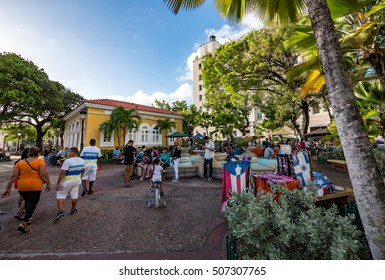 PUERTO RICO - SAN JUAN, 06 JAN 2015: Street photography of Old San Juan scenario in Puerto Rico.