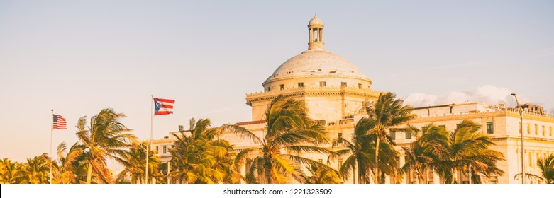 Puerto Rico San Juan Capital District Capitol building. USA travel cruise destination in Latin America. Street view of famous landmark marble dome in city near Old San Juan. Banner panorama.