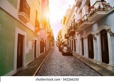 Puerto Rico, San Juan Streets on a sunset