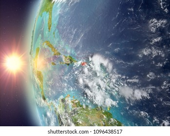 Puerto Rico as seen from space on planet Earth during sunset. 3D illustration. Elements of this image furnished by NASA.
