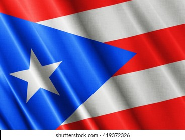 Puerto Rico waving flag close