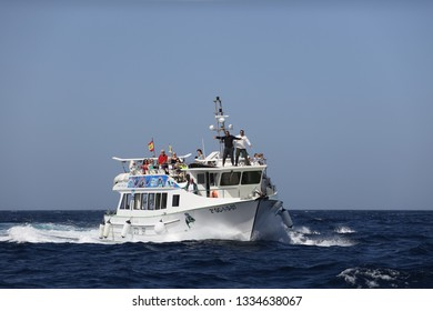 Puerto Rico,Gran Canaria,02.05.2019. Tourists enjoy dolphin/whale watching trip in the Atlantic ocean on a glass bottom ferry by Lineas Salmon company.