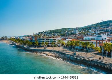 Puerto Vallarta downtown boardwalk and landmark