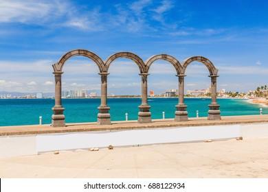 Puerto Vallarta, Jalisco, Mexico. Puerto Vallarta arches on the Malecon.