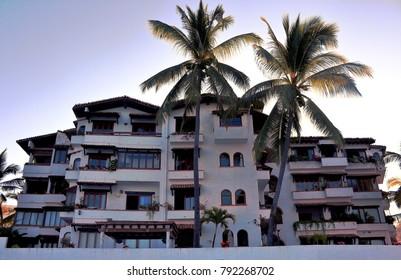 Puerto Vallarta, Jalisco /Mexico - January 12, 2018:  Hotel on beach in Old Town Puerto Vallarta
