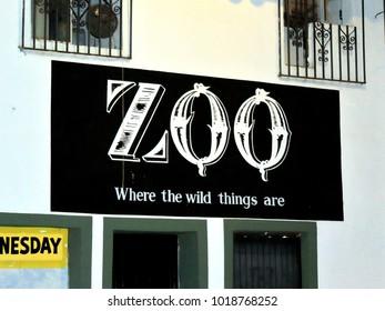 Puerto Vallarta, Jalisco/Mexico - February 2, 2018:  Zoo sign on wall:  Where the Wild Things Are