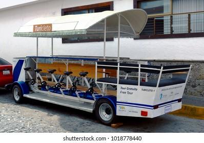 Puerto Vallarta, Jalisco/Mexico - February 2, 2018:  Bicycle-powered tour bus:  Energy Efficiency