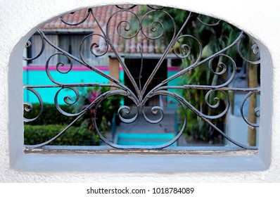 Puerto Vallarta, Jalisco/Mexico - February 2, 2018:  Iron scroll work over the windows of my apartment in PV