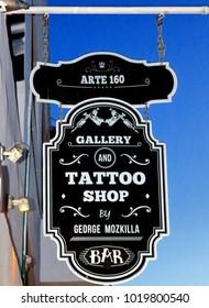 Puerto Vallarta, Jalisco/Mexico - February 2, 2018:  Tattoo Shop Sign