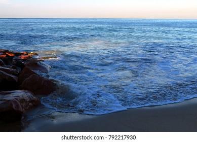 Puerto Vallarta, Jalisco/Mexico - January 12, 1018:  Morning shot of Pacific Ocean from the beach