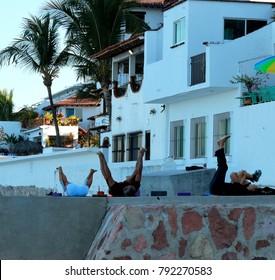 Puerto Vallarta, Jalisco/Mexico - January 12, 2018:  Morning Yoga class on the beach