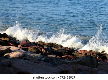 Puerto Vallarta, Jalisco/Mexico = January 12, 2018:  Pacific Ocean splashing against rocks on shore