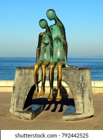 Puerto Vallarta, Jalisco/Mexico = January 12, 2018:  Copper statue of man and woman melded together