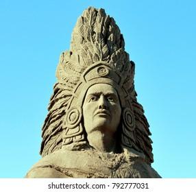 Puerto Vallarta, Jalisco/Mexico - January 12, 2018:  Indian Chief Sand Sculpture close-up