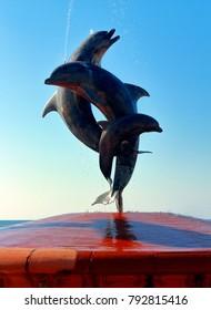 Puerto Vallarta, Jalisco/Mexico - January 12, 2018:  Dolphin Statue Fountain