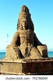 Puerto Vallarta, Jalisco/Mexico - January 13, 2018:  Indian Chief Sand Sculpture
