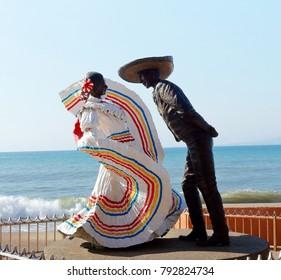 Puerto Vallarta, Jalisco/Mexico - January 13, 2018:  Senor and Senorita engaging in traditional Mexican dance statue