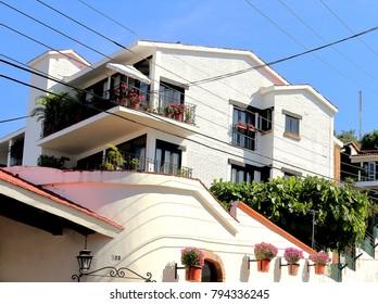 Puerto Vallarta, Jalisco/Mexico - January 13, 2018, Mexican architecture white house