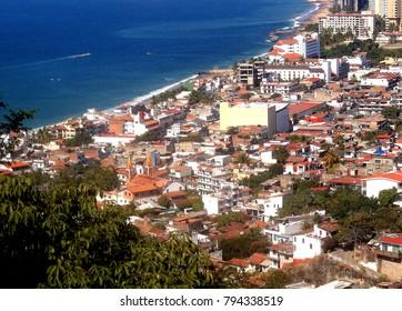Puerto Vallarta, Jalisco/Mexico - January 13, 2018:  Cityscape of Puerto Vallarta from mountain above