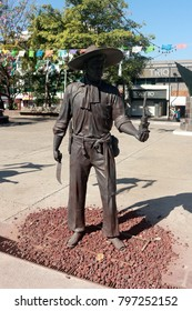 Puerto Vallarta, Jalisco/Mexico - January 15, 2018: Statue at Hidalgo Square, upon inquiry all of the statues on the square are performing tasks commemorating the ancient tradition of making tequila
