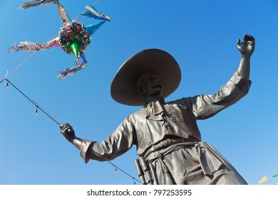 Puerto Vallarta, Jalisco/Mexico - January 15, 2018: According to inquiry, the statues on Hidalgo Square, one block from the Hotel Zone, commemorate the ancient art of making tequila.
