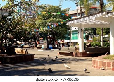 Puerto Vallarta, Jalisco/Mexico - January 18, 2018:  Hidalgo Square in downtown Puerto Vallarta