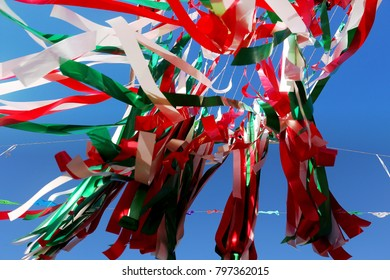 Puerto Vallarta, Jalisco/Mexico - January 18, 2018:  Ribbons flying in the air at town square in downtown Puerto Vallarta
