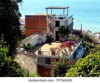 Puerto Vallarta, Jalisco/Mexico - January 18, 2018:  Villa with ocean view