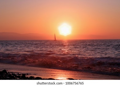 Puerto Vallarta, Jalisco/Mexico - January 19, 2018:  Sunset with sailboat over the Pacific Ocean