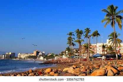 Puerto Vallarta, Jalisco/Mexico - January 19, 2018:  View south of the Malecon Boardwalk