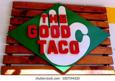 Puerto Vallarta, Jalisco/Mexico - January 19, 2018:  The Good Taco sign