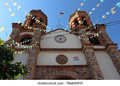 Puerto Vallarta, Jalisco/Mexico - January 4, 2018:  Iglesia De San Miguel Arcangel PItillal Catholic Church on town square