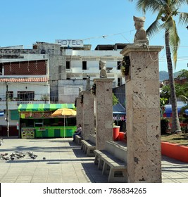 Puerto Vallarta, Jalisco/Mexico - January 4, 2018:  Dilapidated hotel on Pitillal town square.  While most of Puerto Vallarta exploded with the tourism industry, Pitillal has remained much the same.