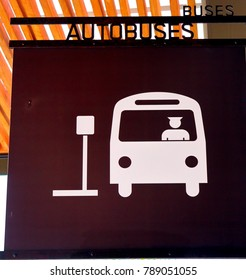Puerto Vallarta, Jalisco/Mexico, January 4, 2018:  Sign used to indicate a bus stop