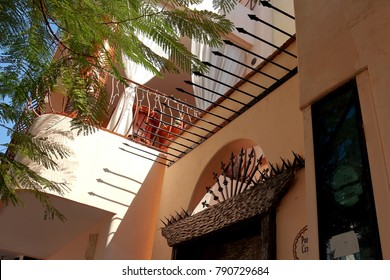 Puerto Vallarta, Jalisco/Mexico, January 9, 2018:  Mexican architecture view of terrace from doorway to beach condo