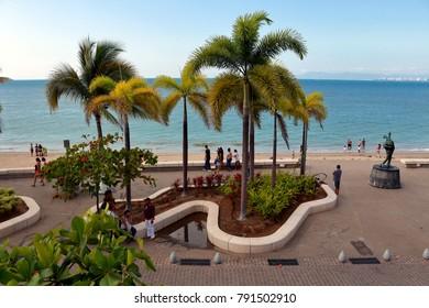 Puerto Vallarta, Jalisco/Mexico - January 9, 2018:  Malecon Boardwalk