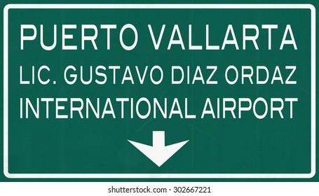 Puerto Vallarta Mexico International Airport Highway Sign 2D Illustration