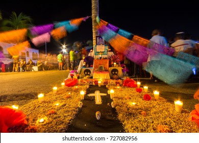 PUERTO VALLARTA, MEXICO - Oct 31, 2016: Day of the Dead (Dia de los Muertos) Street Decoration
