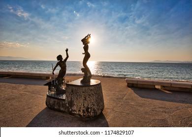Puerto Vallarta, Mexico-20 April, 2018: Famous Malecon sculptures located on scenic ocean boardwalk
