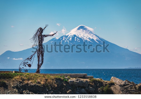 Puerto Varas, Chile - Feb 22, 2018: Licarayen Princess and Osorno Volcano - Puerto Varas, Chile