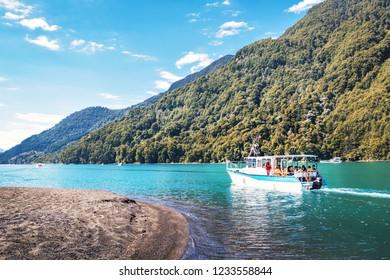 Puerto Varas, Chile - Feb 23, 2018: Boat at Todos los Santos Lake - Los Lagos Region, Chile