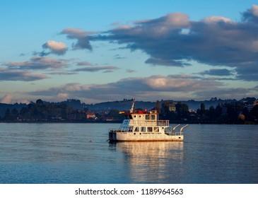PUERTO VARAS, LLANQUIHUE PROVINCE, LOS LAGOS REGION, CHILE - APRIL 20, 2018: Boat on the Llanquihue Lake.