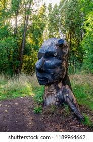 PUERTO VARAS, LLANQUIHUE PROVINCE, LOS LAGOS REGION, CHILE - APRIL 22, 2018: Sculpture in Philippi Park.