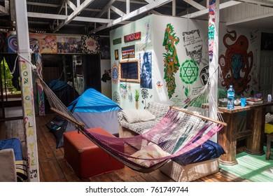 PUERTO VIEJO DE TALAMANCA, COSTA RICA  - MAY 16, Interior of Lazy Loft Beach Hostel in Puerto Viejo village.