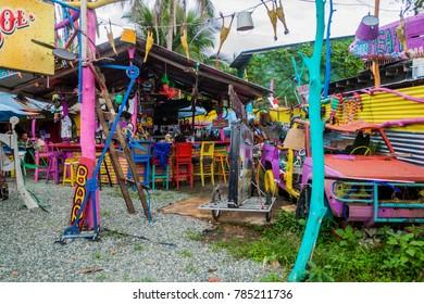 PUERTO VIEJO DE TALAMANCA, COSTA RICA  - MAY 16, 2016: View of colorful Outback Jack's Australian Beach Bar & Grill  in Puerto Viejo de Talamanca village, Costa Rica